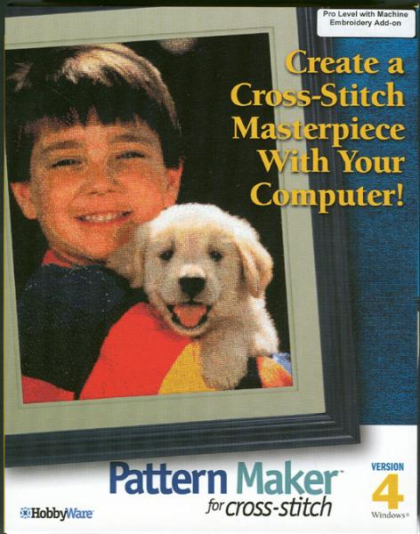 HobbyWare Pattern Maker 4.0 Software Convert Photos to Charts, Cross Stitch for Sewing Embroidery Machine Designs, 50ClipArts, 25Alphabet Letter Fonts