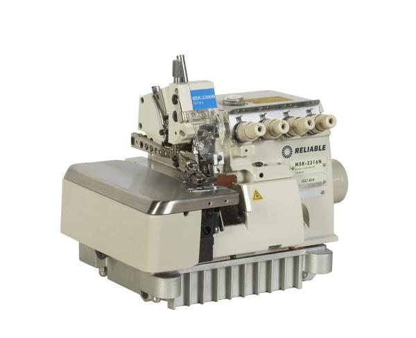 Reliable MSK-3316N-GG7-60H Heavy Duty 5-Thread Safety Stitch Serger TRACTOR FEED, 4mmSL, 7mmSW, 6mmLift, DC Power Stand 6500RPM, 100Needles, UberLamp