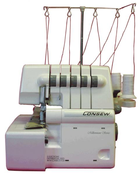 Consew 14TU2345 Thread Freearm Serger, up to 7.7mm Wide Safety Stitch, 4mm Wide 2 Needle Cover Hem Stitch, Single Needle Straight Chain Stitch Machinenohtin