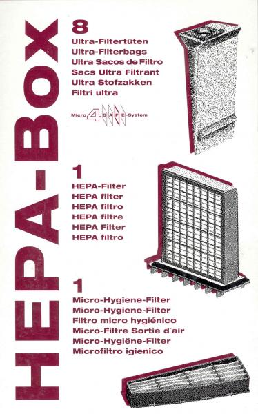 SEBO 6432ER HEPA Service Box 8 Bags, 1 HEPA Filter, and 1 Micro Hygiene Filter for C1, C2, C3 Airbelt Canister Vacuum Cleanersnohtin