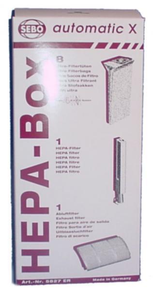 SEBO 5827ER HEPA Service Box 8 Bags +2 Micro/Exhaust Filtersnohtin