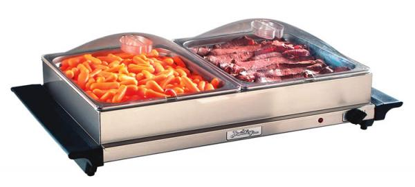 BroilKing NBS-2SP Professional Double Buffet Server - Stainless Base and Plastic Lids