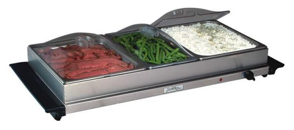 "BroilKing NBS-3SLP Professional ""Family Size"" Buffet Server - Stainless Base and Plastic Lids"