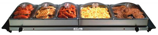 BroilKing NBS-5SP Professional Grand Buffet Server - Stainless Base and Plastic Lids