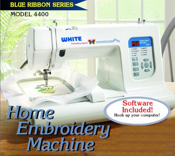 "White 4400 4x4"" Embroidery Machine USB +Digitizing Windows XP 32 Bit Only*nohtin"