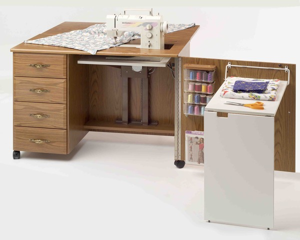Fashion Sewing Cabinets 4600 Sewing Machine Credenza Cabinet, Maximum Storage, Limited Space. Electric Lift Platform, Drawer Glides, Filler Insertnohtin