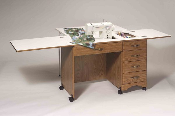 "Fashion Cabinets 3400 Large Work Area Sewing Desk, Rustic Maple, 42"" Wide (84 open) x 19-3/4"" Deep x 30-1/4"" High, Manual Lift Platform, Assembled*nohtin"