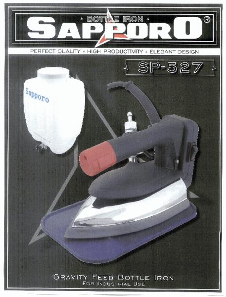 Sapporo SP-527 Gravity Feed Steam Iron. Dimeneralizer and Teflon Iron Shoe are Optional *nohtin Sale $99.99 SKU: SP-527-120V :