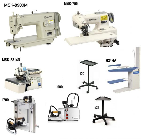 Reliable Alteration Dressmaking : 3100SD Machine, 7100SB BlindStitch, MSK3314 Serger, Stands, i700 Boiler, i30/2100IR Iron, Shoe, 6200VB Vacuum Board2nohtin
