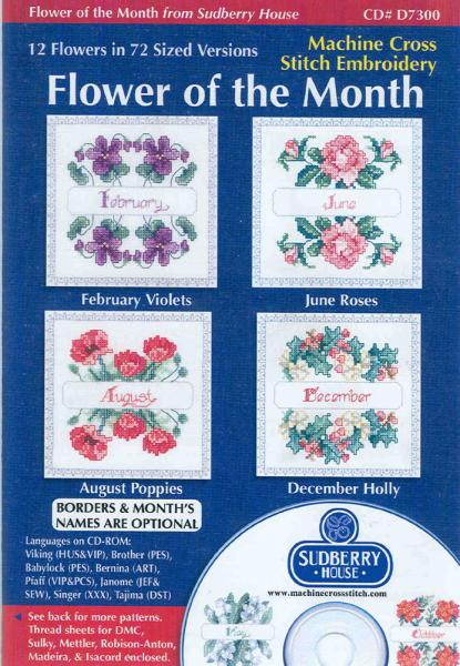 Sudberry House D7300 Flower Of The Month Digitized Machine Cross Stitch Designsnohtin