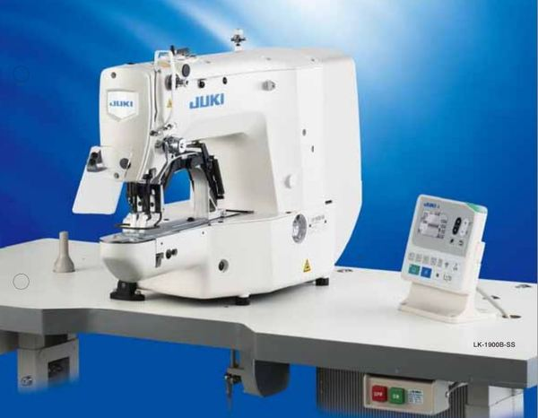 Juki LK1900 Bartacking Sewing Machine, Thread Trimmer, Foot Lift, 30x40mm Pattern, 14mm Clamp Lift, NoOil, Direct Drive SetUp Stand ServoMotor 3200RPMnohtin