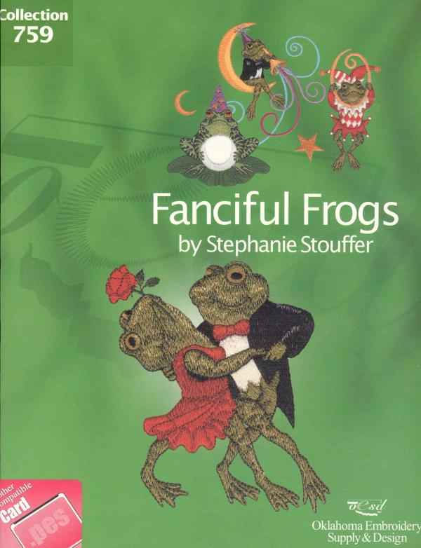 OESD 759 Fanciful Frogs by Stephanie Stouffer Collection Embroidery Card