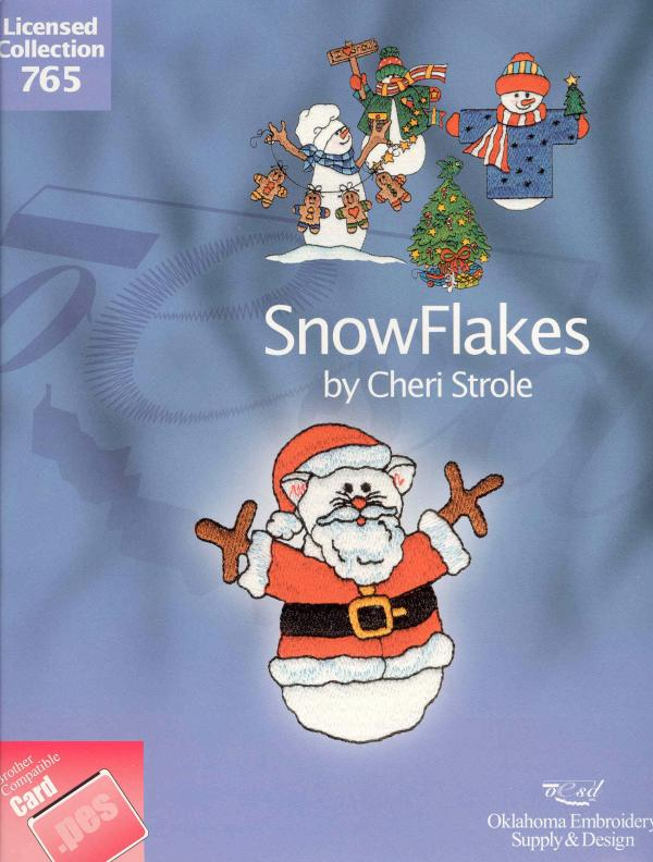 OESD 765 Snowflakes by Cheri Strole Collection Embroidery Card .PES Formatnohtin