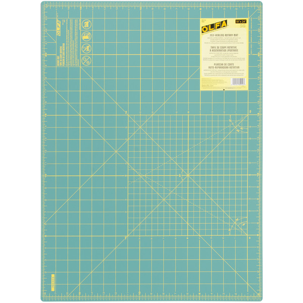 "Olfa RM-SG 18x24"" Inch Rotary Cutting Mat Green, 1.5mm Thick, Self Healing, Double Sided, Yellow Grid Lines on One Side for Precision Cuttingnohtin"