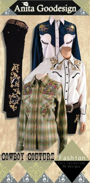 Anita Goodesign 85AGHD Cowboy Couture Multi-format Embroidery Design Pack on CDnohtin