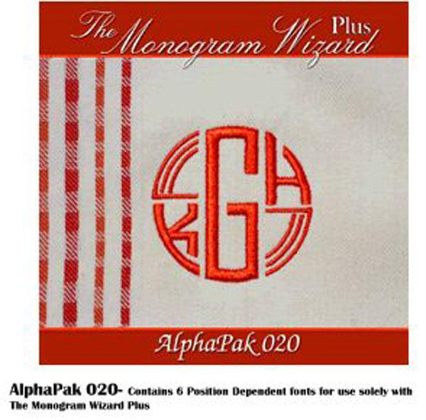 Alpha Pak 20, Fonts CD for Monogram Wizard Embroidery Software Onlynohtin