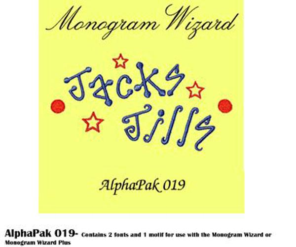 Alpha Pak 19. Fonts CD for Monogram Wizard Embroidery Software Onlynohtin