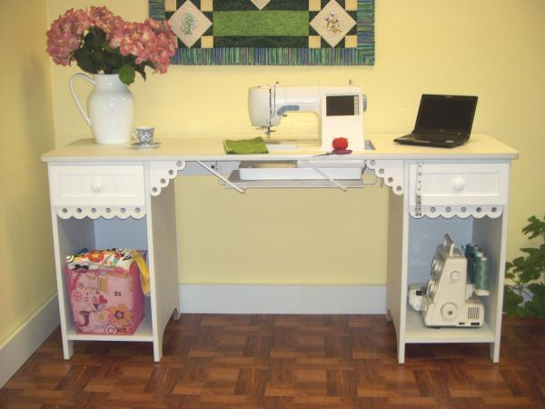 Arrow 1001DL Olivia Sewing Machine Cabinet Desk - White