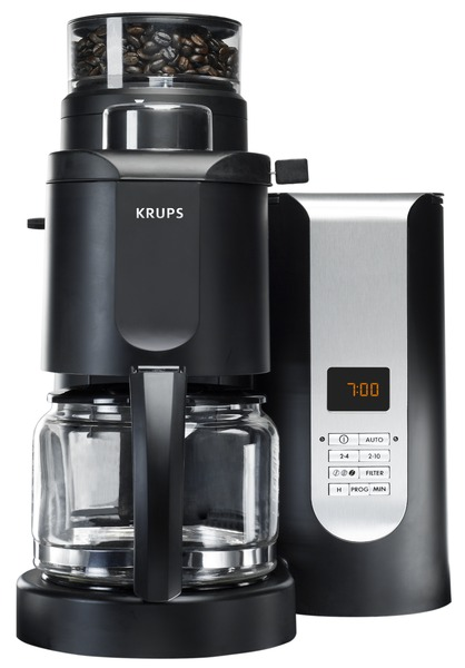 "Krups KM7000 Pro Grinder Brewer 10 Cup CoffeeMaker BLACK 11x11x15"", 1000W, 5Grinds, 3Strengths, 2-10 Cup Digital, 2-4Aroma, BrewPause, Filter, AutoOff"