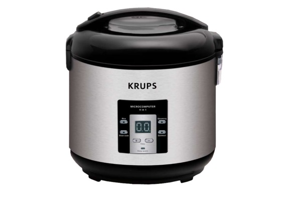 Krups RK7011 10-20 Cup Rice Cooker Non Stick, Control Panel, 4 Cooking Modes: Rice, Steam Basket, Slow Cook, Oatmeal, AutoWarm; LockLid, Recipes, 8Lbs