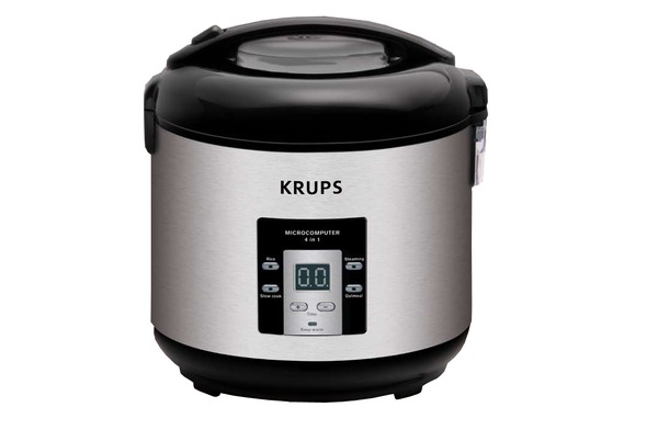 Krups RK7009 4 in 1, 5 Cup Rice Cooker, 4 Cook Modes: rice, steaming, slow cook, oatmeal, Basket, Bowl, Paddle, Cup, Lock Lid, Keep Warm, Recipe Book