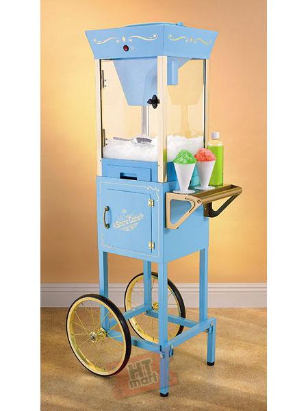 "Nostalgia Electrics SCC-200 Vintage Collection Old Fashioned Snow Cone Cart, 21x16.5x53"" Tall, Ice Shaving Cage, Store Syrups Cups, Spoon Straws, 48Lb"