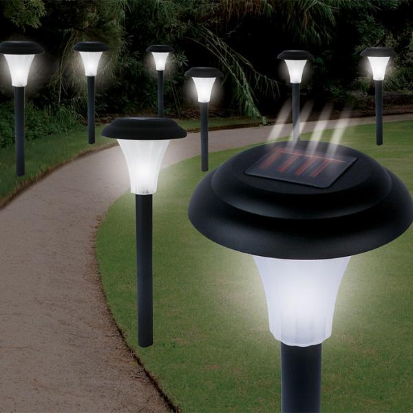 TradeMark Set of 8 Bright Solar Accent LED Lights Cordless, Soaks up the sun's energy by day, Shines brightly at night, for walks, gardens and patios