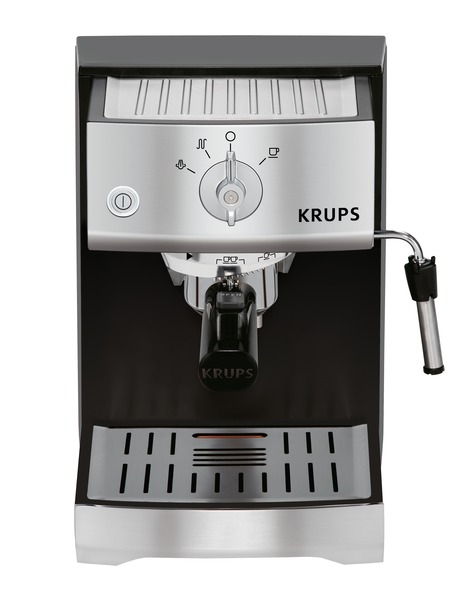 Krups XP5220 Expert Pump Espresso Coffee Maker, Precise Tamp, 15 Bar. Steam Nozzle for Milk Frothing, Black & Stainless Steel, ThermoBlock Quick Heat