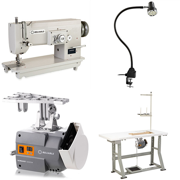 "Reliable 2400SZ/MSK-199B 11"" Arm Straight Stitch to 10mm ZigZag Sewing Machine, 8/15mm Lift, 5mm Length, M Bobbin, DC Power Standnohtin"