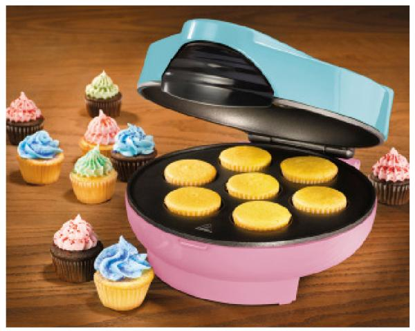 Nostalgia                                     Electrics CKM-100 Cupcake Maker, makes 7 cup cakes at one time in 5 minutes cooking time, non stick coating, cord store, power                                     & heat lights