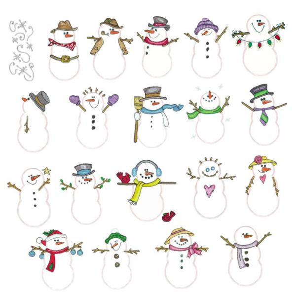 Amazing Designs ADSS-PP2 Sensational Series Plush Pals Snowmen Collection I Embroidery Cardnohtin