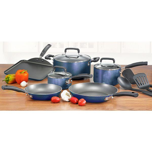 T-fal C109SC64 Signature Total Non-Stick 12-piece Cookware Set, Blue