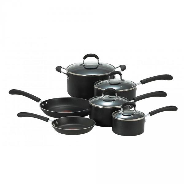 T-fal E938SA74 Professional Total Non-Stick 10-piece Cookware Set, Black