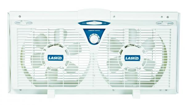 "Lasko 2138 8"" Electrically Reversible Twin Window Fans, Thermostat, Whisper Quiet 2 Speed, Expander Panels Custom Fit Windows 25 to 35"" Wide, 12"" Highnohtin"