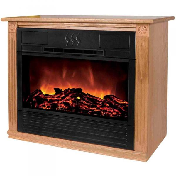 Heat Surge HS-RG1 Amish Crafted Roll-n-Glow Electric Space Heater Fireplace, Light Oak, 4606 BTU's, Fireless Flame, 1500 Watts, 325 sq. ft. Coverage
