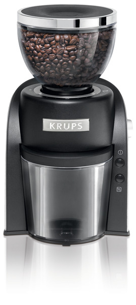 Krups GX600050 Conical Burr Grinder BLACK, 20 Grind Settings for Fine, Medium, and Coarse Blends, Digital One Touch Start Stop Control, 120 Watts