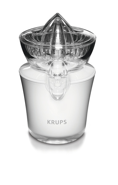 Krups ZX720143 White Citrus Juicer, Stainless Steel Anti Drip Valve, Premium Translucent Acrylic Design, Plastic Protection Cover, On Off Switch
