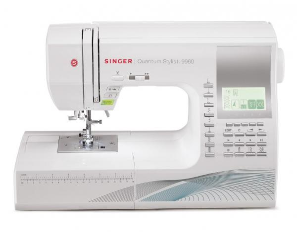 Singer 9960 600-Stitch Function Quantum Stylist Computer Sewing Machine with Extension Table, 13BH, 5Fonts, 25 Needle Positions, Drop Feed Free Motionnohtin