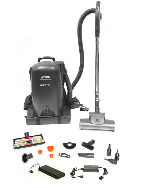 Atrix VACBP1 36V Cordless Backpack HEPA Vacuum Cleaner Blower, Battery Powered, Charger, Telescoping Wand, 5 Tools & Brushes, 3 Quart, 4 Stage Filter