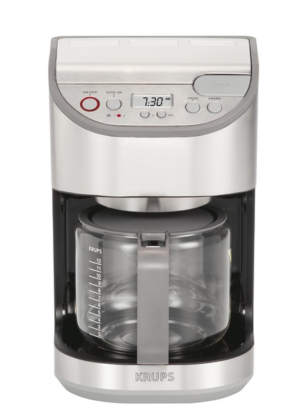 Krups KM611D50 12 Cup Coffee Maker, Programmable LCD, Duo Filter System, Glass Carafe, Designed by Swedish Designer Bj�rn Dahlstr�m