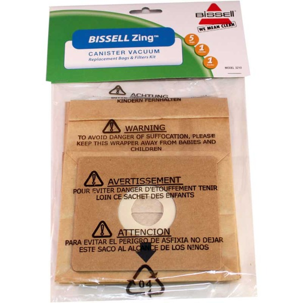 Bissell B-3210 Paper Bag, Bissell Zing 7100 Canister 5Bags/2Filtnohtin