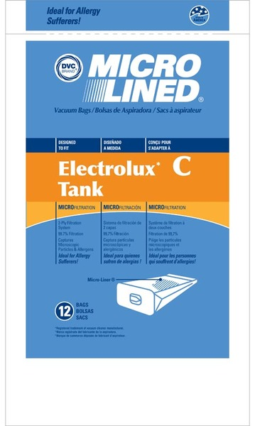 Electrolux Replacement Exr-1475 Paper Bag, Lux Tank Microlined Dvc 12Pknohtin