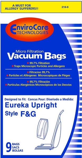 EnviroCare 216-9 Eureka Replacement Paper Bag, Eur Style F&G Microfilter Env 9Pknohtin