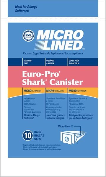 Europro Eur-1471 Paper Bag, Microlined Shark Canister Dvc 10Pknohtin