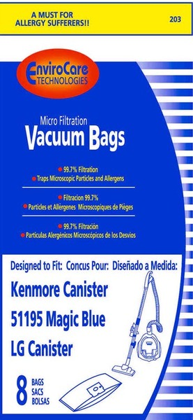 Kenmore Replacement Ker-1419 Paper Bag, Style M 51195 Magic Blue & Lg Can 8Pknohtin
