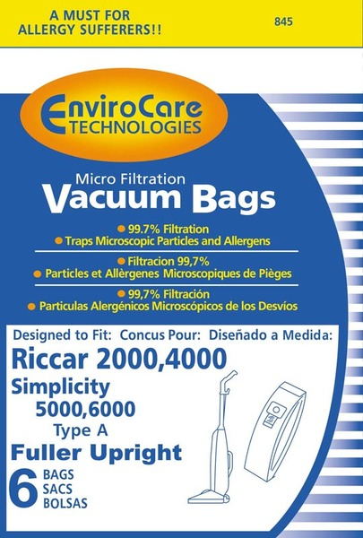 Riccar/Simplicity Replacment Rsr-1431 Paper Bag, Ric 2000 4000 Sim 5000 6000 Type A 6Pk RSR-1431