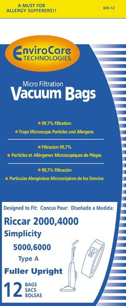 Riccar/Simplicity Replacment Rsr-1431-12 Paper Bag, Ric 2000 4000 Sim 5000 6000 Type A 12Pk RSR-1431-12