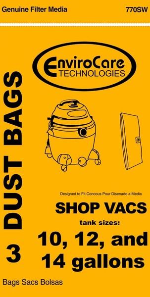 Shop Vac Replacment Svr-1410 Paper Bag, Shop Vac Catch Bag 10-14 Gallon Env 3Pknohtin