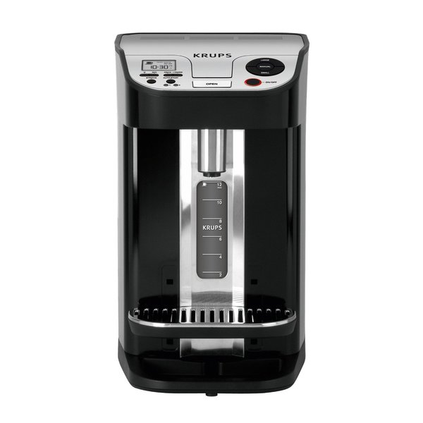 Krups KM9008 Cup On Request Single Serve, Programmable Timer 12 Cup Coffee Maker 100W, Removable Stainless Steel Tank, Dual Heat, 4Hours, Silver Black