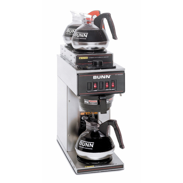 Bunn VP17-3 SS Pourover Commercial Coffee Brewer with Three Warmers, One Lower and Two Upper, Stainless Steel Coffee Machine